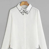 White Cat Embroidery Collar Button Shirt