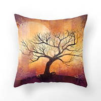 Halloween tree design, DECORATIVE THROW PILLOW cover, home decor, art home, Autumn design