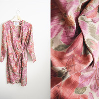 The Meadow - Vintage 90s Pink Beige SILK Flower Floral Wrap Dress Kimono