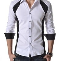 TheLees Mens Casual Slim Fit 2 Tone Long Sleeve Stretchy Shirts