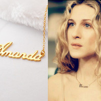 Personalized Carrie Bradshaw Necklace,Sex and the City Name Necklace,Custom Carrie Name necklace,Name Jewelry,Tiny Name Necklace