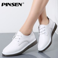 PINSEN 2017 Autumn Women Oxford Shoes Ballerina Flats White Shoes Women Genuine Leather Lace up Boat Shoes Moccasins Loafers