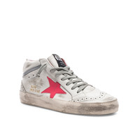 Golden Goose Mid Star Sneakers in White & Patent Pink | FWRD