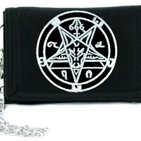 Sabbatic Baphomet Pentagram Tri-fold Wallet w/ Chain Occult Clothing