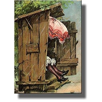 A Woman with Umbrella in Ladies Outhouse Toilet Bathroom Picture on Stretched Canvas, Wall Art Decor Ready to Hang!.
