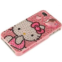 Hello Kitty iPhone 4S and 4 Sanrio Cute Pink Diamond Heart Crystal Rhinestone Jewelry Cover Snap On Case for Newest Apple iPhones - Pink