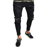 2018 Stretch Skinny Fit Jeans Men Knee Ripped Distressed Hole Designer Brands Plus Size Tight Pant Hip Hop Street Big Size XXXXL