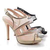 Shuz1 By Blossom, Mesh & Rhinestone Studded Strappy Stiletto Sling back Sandals