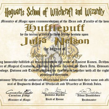 Hufflepuff House Personalized Harry Potter Diploma - Hogwarts School of Witchcraft and Wizardry