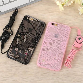For iPhone 6 Case 6S Apple iPhone6 6S Plus  Sexy Lace Secret  Butterfly Black Pink Lace Bag Hard Back Cover with layard