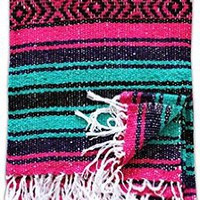 Del Mex (TM) Pink, Gray and Turquoise Mexican Yoga Beach Blanket Vintage Style (Cabo)
