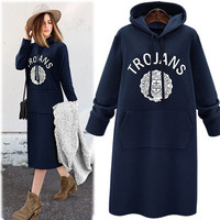 Autumn Women Velvet Alphabets One Piece Dress Sweatshirt a13095
