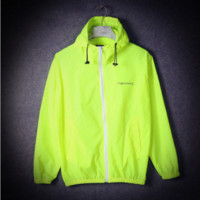 A hooded charge sports wear dust coat couple thin section is prevented bask in unlined upper garment to coat Yellow