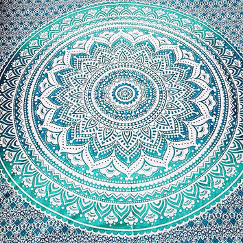 Indian Mandala Ombre Green White Bohemian Boho Large Throw Bed Sheet Wall Hanging Tapestry QUEEN/DOUBLE/KINGSIZE 90'X108'