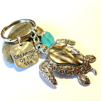 Sea Turtle Keychain, Aqua Blue Sea Glass Keychain, Abalone Shell Keychain, Gifts