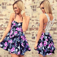 Floral Sleeveless Lace Back Summer Dress