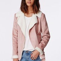 BLISS FAUX SUEDE SHEARLING COAT PINK