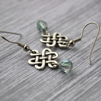 Silver Chinese Knot Dangle Earrings with Blue Green Czech Glass Beads - Small Simple Earrings