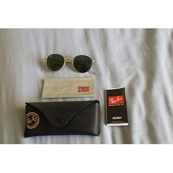 Ray ban round sunglasses gold 47mm