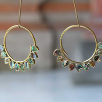 Hand made brass hoops earrings or weights  with abalone shell,  wearable size is 2 mm