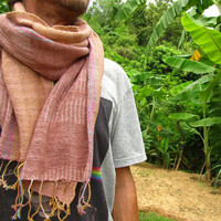 Mens Hand Woven Cotton Scarf / Stylish Rustic Boho Hipster Man Shawl