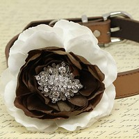 White and Brown Flower Dog Collars, Beaded Dogs collar, pet Wedding accessory, Puppy Love , Wedding dog collar