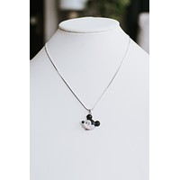 Mickey Mouse Rhinestone Face Necklace