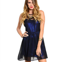 Shimmer Metallic Party Dress - Blue