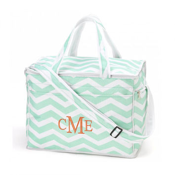 Mint Chevron Cooler Bag Insulated Tote - Monogrammed Personalized Beach Pool