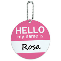 Rosa Hello My Name Is Round ID Card Luggage Tag