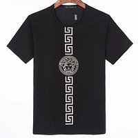 Versace fashion men's and women's round neck short-sleeved top simple Medusa print T-shirt