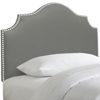 Skyline Furniture Nail Button Notched Headboard in Duck Grey