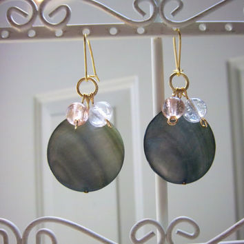 Storm Gray Shell and Glass Bead Earrings