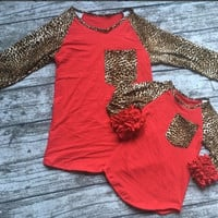 In Stock-Mommy and me Red Lepoard icing Raglan
