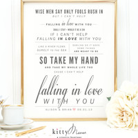 """Ingrid Michaelson or Elvis Presley """"Can't Help Falling in Love"""", Valentine's Day, Wedding, Paper Anniversary Gift, Song Lyrics Art Print"""