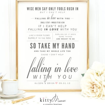 "Ingrid Michaelson or Elvis Presley ""Can't Help Falling in Love"", Valentine's Day, Wedding, Paper Anniversary Gift, Song Lyrics Art Print"