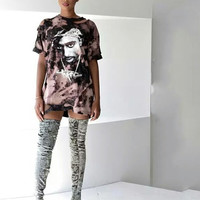 Long Live Pac Destroyed Bleached Oversized T Shirt