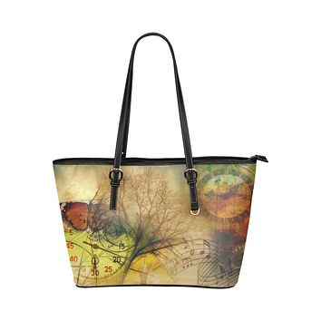 Time Clock Abstract Style Tote Shoulder Bag