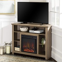 """WE Furniture 44"""" Driftwood Wood Corner Fireplace TV Stand Console for Flat Screen TV's Up to 48"""" Entertainment Center Grey/Brown"""