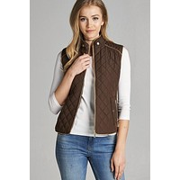 Quilted Fall Vest - Brown
