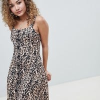Miss Selfridge shift dress with button front in leopard print at asos.com