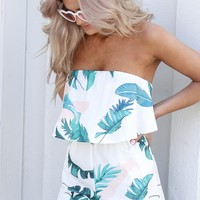 On The Yacht Palm Ivory Romper