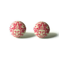 Baroque Print Dark Pink Fabric Covered Button Earrings