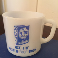 Vintage Anchor Hocking Petter Blue Book Milk Glass Coffee Cup