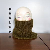 PATTERN Knit Chunky Cowl - Easy Knitting Patterns - Mens Scarf Pattern - Womens Cowl Pattern - Ribbed Cowl - Chunky Knit - Beginner Patterns