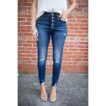 City Rush High Rise Button Front Jean