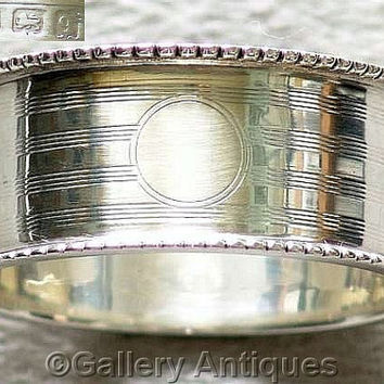 Antique Solid 925 Sterling Silver engine turned stripes Napkin / Serviette Ring by George Unite, Hallmarked for Birmingham, 1915 (ref: 3148)