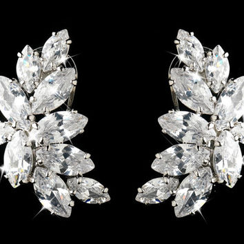 Bridal earrings Clear Cluster CZ Crystals Set On Antique Silver Rhodium - Wedding Bridal Earrings - bridal Jewelry