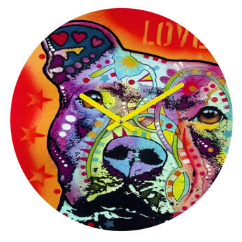 Dean Russo Thoughtful Pitbull Round Clock