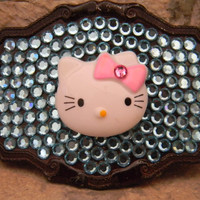 Hello Kitty Swarovski Crystal Belt Buckle #belt #hellokitty #swarovski #beltbuckle